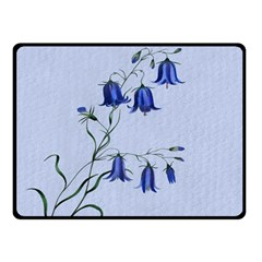 Floral Blue Bluebell Flowers Watercolor Painting Double Sided Fleece Blanket (Small)