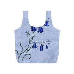 Floral Blue Bluebell Flowers Watercolor Painting Full Print Recycle Bags (S)