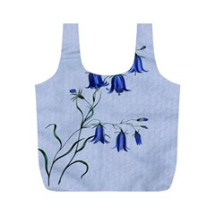 Floral Blue Bluebell Flowers Watercolor Painting Full Print Recycle Bags (m)