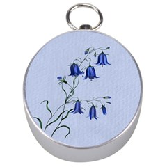 Floral Blue Bluebell Flowers Watercolor Painting Silver Compasses