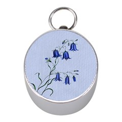 Floral Blue Bluebell Flowers Watercolor Painting Mini Silver Compasses
