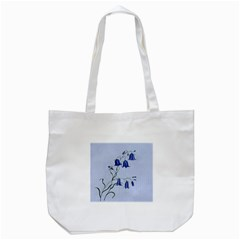 Floral Blue Bluebell Flowers Watercolor Painting Tote Bag (White)