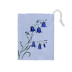 Floral Blue Bluebell Flowers Watercolor Painting Drawstring Pouches (Medium)