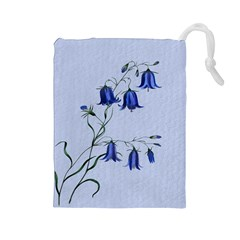 Floral Blue Bluebell Flowers Watercolor Painting Drawstring Pouches (large)