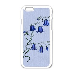 Floral Blue Bluebell Flowers Watercolor Painting Apple Iphone 6/6s White Enamel Case
