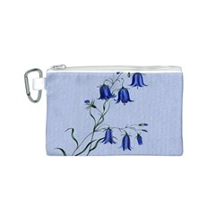 Floral Blue Bluebell Flowers Watercolor Painting Canvas Cosmetic Bag (S)