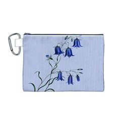 Floral Blue Bluebell Flowers Watercolor Painting Canvas Cosmetic Bag (m)