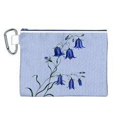 Floral Blue Bluebell Flowers Watercolor Painting Canvas Cosmetic Bag (L)
