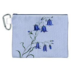 Floral Blue Bluebell Flowers Watercolor Painting Canvas Cosmetic Bag (XXL)