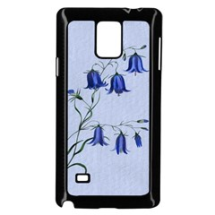 Floral Blue Bluebell Flowers Watercolor Painting Samsung Galaxy Note 4 Case (Black)