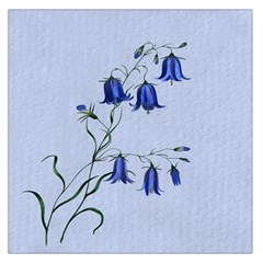 Floral Blue Bluebell Flowers Watercolor Painting Large Satin Scarf (Square)