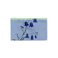 Floral Blue Bluebell Flowers Watercolor Painting Cosmetic Bag (XS)