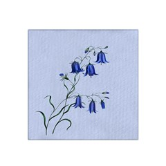 Floral Blue Bluebell Flowers Watercolor Painting Satin Bandana Scarf