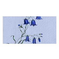 Floral Blue Bluebell Flowers Watercolor Painting Satin Shawl