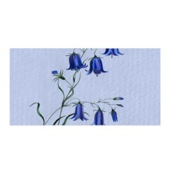 Floral Blue Bluebell Flowers Watercolor Painting Satin Wrap