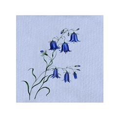 Floral Blue Bluebell Flowers Watercolor Painting Small Satin Scarf (square)