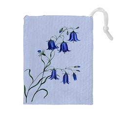 Floral Blue Bluebell Flowers Watercolor Painting Drawstring Pouches (Extra Large)