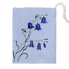 Floral Blue Bluebell Flowers Watercolor Painting Drawstring Pouches (XXL)