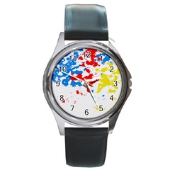 Paint Splatter Digitally Created Blue Red And Yellow Splattering Of Paint On A White Background Round Metal Watch