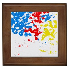 Paint Splatter Digitally Created Blue Red And Yellow Splattering Of Paint On A White Background Framed Tiles