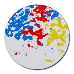 Paint Splatter Digitally Created Blue Red And Yellow Splattering Of Paint On A White Background Round Mousepads