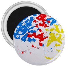 Paint Splatter Digitally Created Blue Red And Yellow Splattering Of Paint On A White Background 3  Magnets