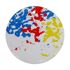 Paint Splatter Digitally Created Blue Red And Yellow Splattering Of Paint On A White Background Ornament (Round)