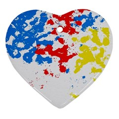 Paint Splatter Digitally Created Blue Red And Yellow Splattering Of Paint On A White Background Ornament (heart)