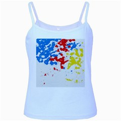 Paint Splatter Digitally Created Blue Red And Yellow Splattering Of Paint On A White Background Baby Blue Spaghetti Tank
