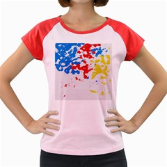 Paint Splatter Digitally Created Blue Red And Yellow Splattering Of Paint On A White Background Women s Cap Sleeve T-Shirt
