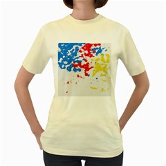 Paint Splatter Digitally Created Blue Red And Yellow Splattering Of Paint On A White Background Women s Yellow T Shirt
