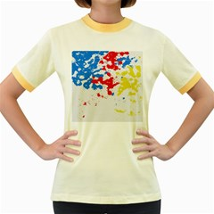 Paint Splatter Digitally Created Blue Red And Yellow Splattering Of Paint On A White Background Women s Fitted Ringer T Shirts