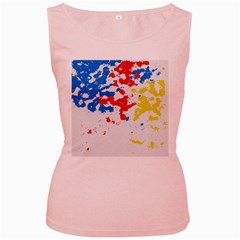 Paint Splatter Digitally Created Blue Red And Yellow Splattering Of Paint On A White Background Women s Pink Tank Top
