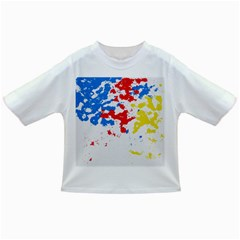 Paint Splatter Digitally Created Blue Red And Yellow Splattering Of Paint On A White Background Infant/toddler T Shirts