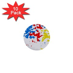 Paint Splatter Digitally Created Blue Red And Yellow Splattering Of Paint On A White Background 1  Mini Buttons (10 Pack)