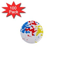 Paint Splatter Digitally Created Blue Red And Yellow Splattering Of Paint On A White Background 1  Mini Magnets (100 Pack)