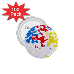Paint Splatter Digitally Created Blue Red And Yellow Splattering Of Paint On A White Background 1 75  Buttons (100 Pack)