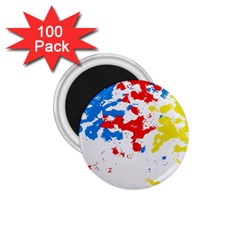 Paint Splatter Digitally Created Blue Red And Yellow Splattering Of Paint On A White Background 1.75  Magnets (100 pack)