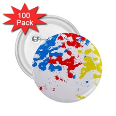 Paint Splatter Digitally Created Blue Red And Yellow Splattering Of Paint On A White Background 2.25  Buttons (100 pack)