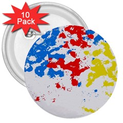 Paint Splatter Digitally Created Blue Red And Yellow Splattering Of Paint On A White Background 3  Buttons (10 pack)