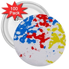 Paint Splatter Digitally Created Blue Red And Yellow Splattering Of Paint On A White Background 3  Buttons (100 Pack)