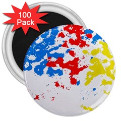 Paint Splatter Digitally Created Blue Red And Yellow Splattering Of Paint On A White Background 3  Magnets (100 Pack)