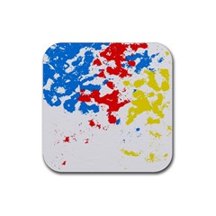 Paint Splatter Digitally Created Blue Red And Yellow Splattering Of Paint On A White Background Rubber Coaster (square)