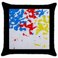 Paint Splatter Digitally Created Blue Red And Yellow Splattering Of Paint On A White Background Throw Pillow Case (Black)
