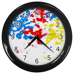 Paint Splatter Digitally Created Blue Red And Yellow Splattering Of Paint On A White Background Wall Clocks (Black)