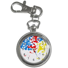Paint Splatter Digitally Created Blue Red And Yellow Splattering Of Paint On A White Background Key Chain Watches