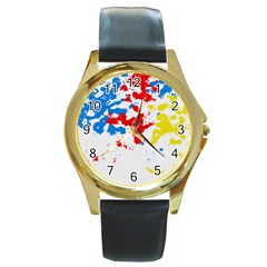 Paint Splatter Digitally Created Blue Red And Yellow Splattering Of Paint On A White Background Round Gold Metal Watch