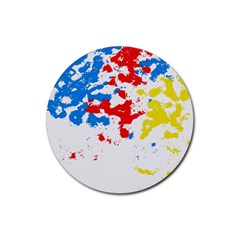 Paint Splatter Digitally Created Blue Red And Yellow Splattering Of Paint On A White Background Rubber Coaster (Round)
