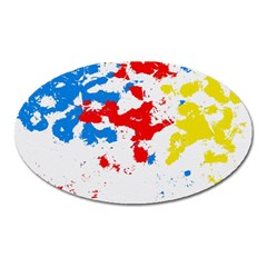Paint Splatter Digitally Created Blue Red And Yellow Splattering Of Paint On A White Background Oval Magnet