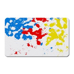 Paint Splatter Digitally Created Blue Red And Yellow Splattering Of Paint On A White Background Magnet (rectangular)